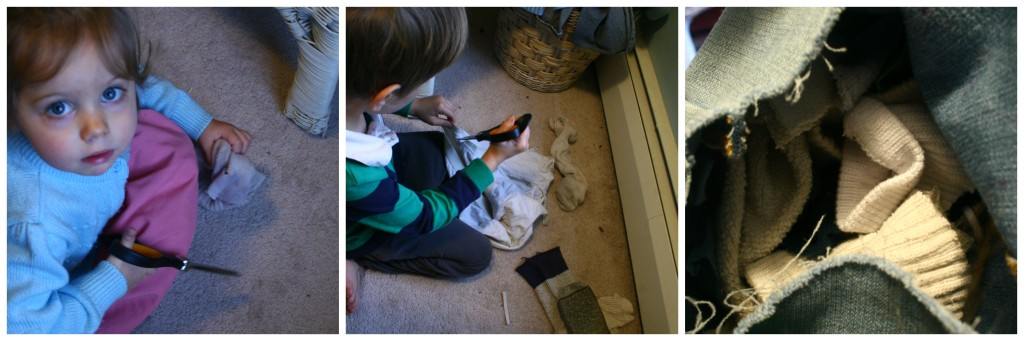 Cutting socks for stuffing