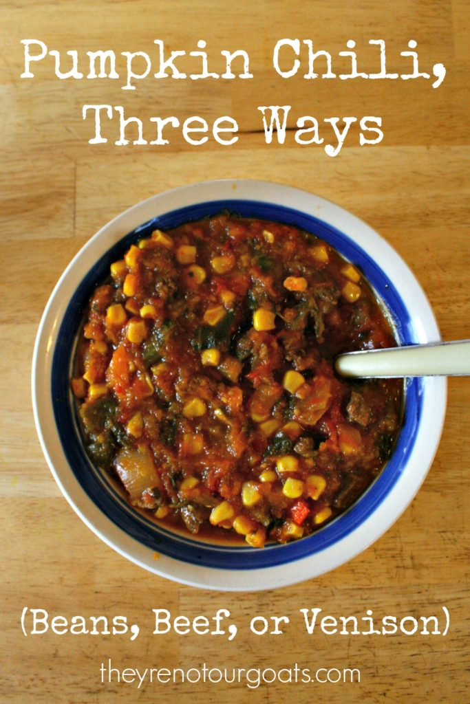A quick, healthy, and flexible staple meal to sustain you through the cold months. Try this delicious pumpkin chili with beans, beef, or venison.